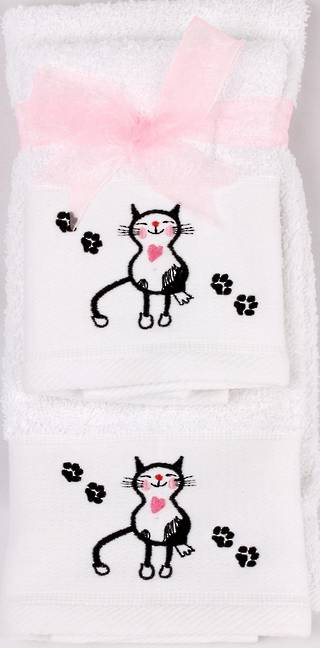 Matching Embroidered Handtowel and facecloth gift set-cat Code: FH-CAT