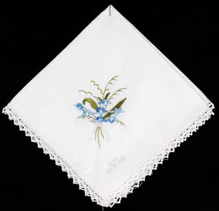 Embroidered lace handkerchiefs 'Floral Blue' Style: EHC/FLO/BLU
