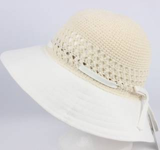 Plain crocheted cotton hat natural Style: HS/9050