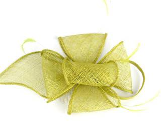 Fascinator sinamay and feather with comb lime Code:HS/1299