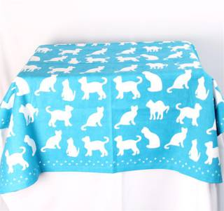 Shadow Cats table throw 100cmx100cm teal Code: T/C-SH/CAT/TEA CLEARANCE