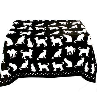 Shadow Cats table throw 100cmx100cm black Code: T/C-SH/CAT/BLK CLEARANCE