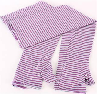 Striped fine knit fingerless 3/4 length glove purple/lilac S/LK3256