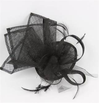 Sinamay organza trim fascinator black Code:HS/1247