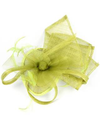 Sinamay organza trim fascinator lime Code:HS/1247