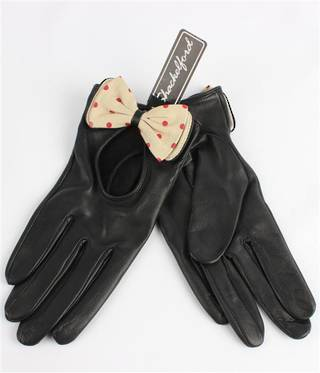 Ladies leather driving  glove with bow black Code-S/LL3279