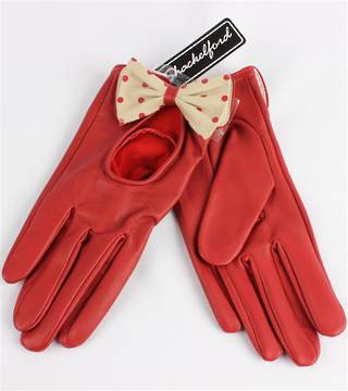 Ladies leather driving  glove with bow red Code-S/LL3279