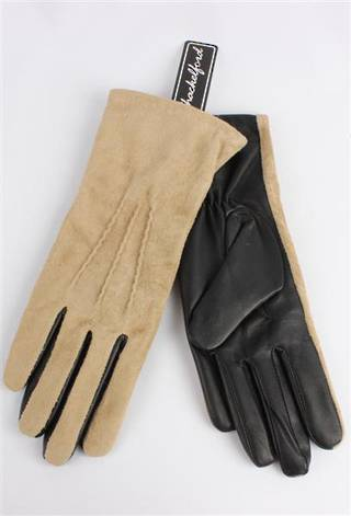 Ladies suede/leather glove beige/black Code:S/LL3269
