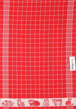 Tea Towel jacquard red Code: TT-JAC/CAT/RED  CLEARANCE