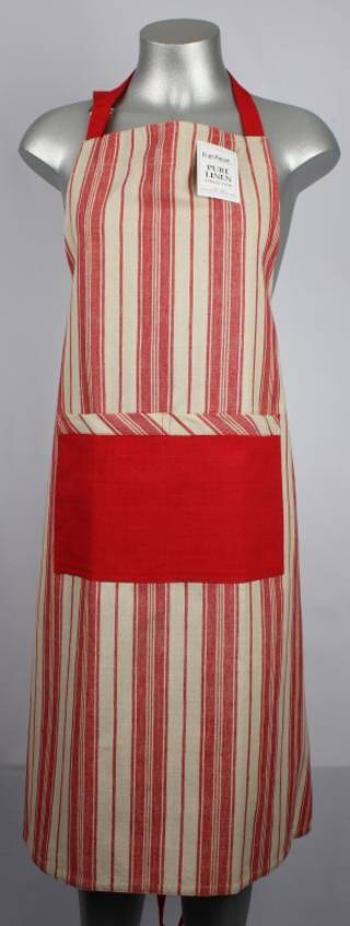 Pure Linen  multi stripe apron red Code: APR-PL/MS/RED