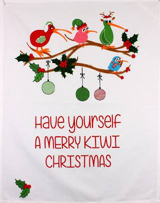 Tea towel Christmas 'Have yourself a merry Kiwi Christmas' Code: TT-CH/MER October delivery