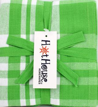 THREE PACK-Tea towel 'Newport' green Code: T/T-NEW/3PK/GRN