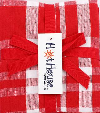 THREE PACK-Tea towel 'Newport' red Code: T/T-NEW/3PK/RED