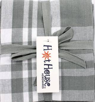 THREE PACK-Tea towel 'Newport' silver Code: T/T-NEW/3PK/SIL