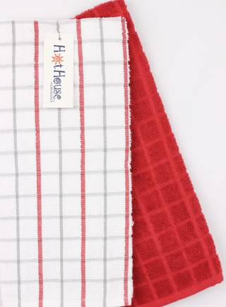 Kitchen hand towels 2 pack terry 'Sorrento' red Code: KT-SOR/2PK/RED
