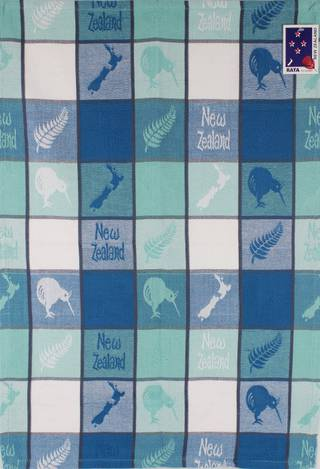 Tea towel map/kiwi aqua Code: S770/MK/A