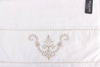Embroidered cotton hand towel 'Sienna white' Code: HT-SIE/WHT