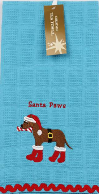 Christmas embroidered waffle weave tea towels 'Santa Paws' White Code:T/T-CH/PAWS