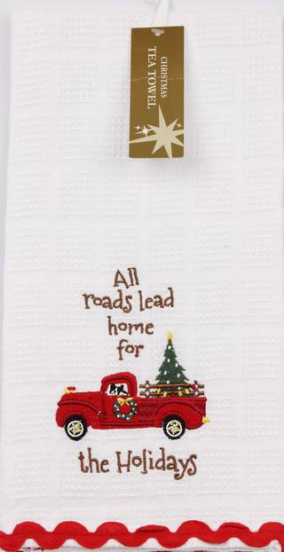 Christmas embroidered waffle weave tea towel 'trucks' white Code:T/T-CH/TRUCK/WHITE