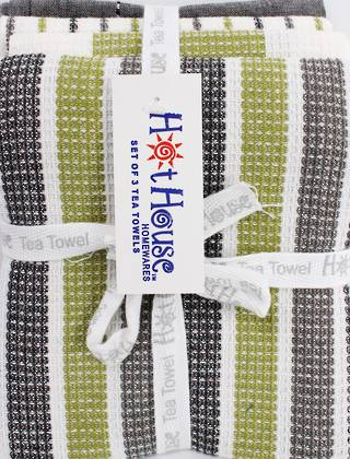 SPECIAL OFFER 4 pk tea towels 'weston' CODE:T/T-WEST/4PK/BLK (take $5.00 off per pack if you buy any 12pks)