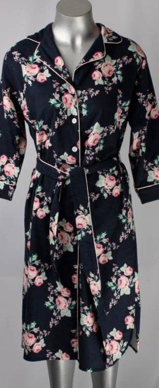 Brushed cotton winter robe navy rose Style; AL/ND-181