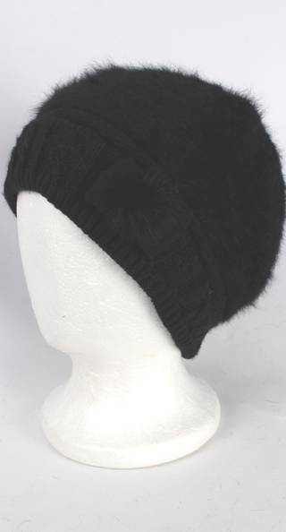 Headstart angora beanie thermal lined w knitted band and bow black Style:HS/4398