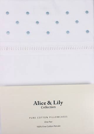 Alice & Lily pure cotton pillowcases one pair BLUE DOT Code: EPC-DOT/BLUE - DELIVERY 2020