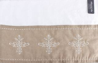 Embroidered looped terry cotton hand towel 'Florence linen' Code: HT-FLO/LIN