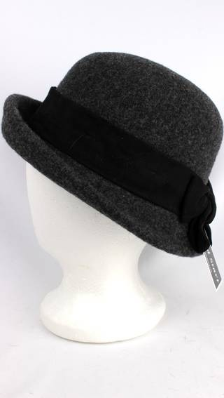 Headstart wool mix cloche w upturn front, band and bow grey/black Style : HS/1413
