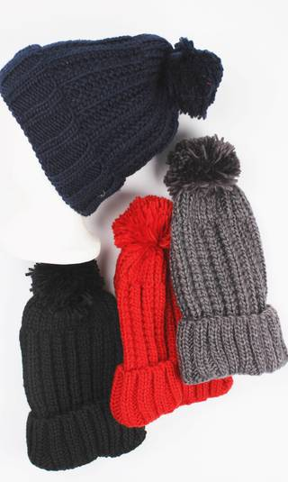 Beanie pack of 12 warm knit turn up w pompom Style: HS/4383