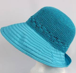 Cotton brim w crocheted crown turq Style : HS/9109
