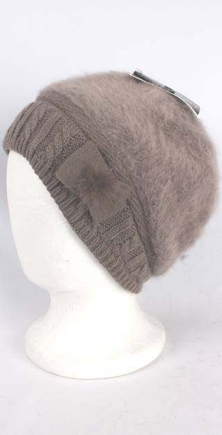 Headstart angora beanie thermal lined w knitted band and bow mocha Style:HS/4398