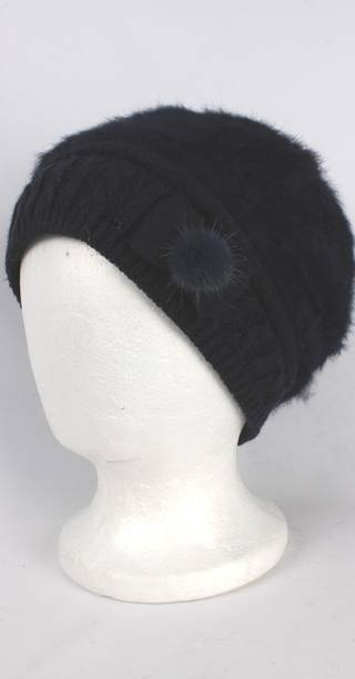 Headstart angora beanie thermal lined w knitted band and bow navy Style:HS/4398