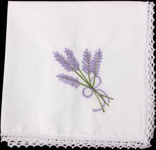 Embroidered lace handkerchiefs 'LAVENDER' Style: EHC/NLAV