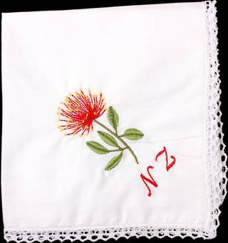 Embroidered lace handkerchiefs 'POHUTUKAWA NZ' Style: EHC/POH