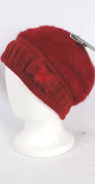 Headstart angora beanie thermal lined w knitted band and bow red Style:HS/4398