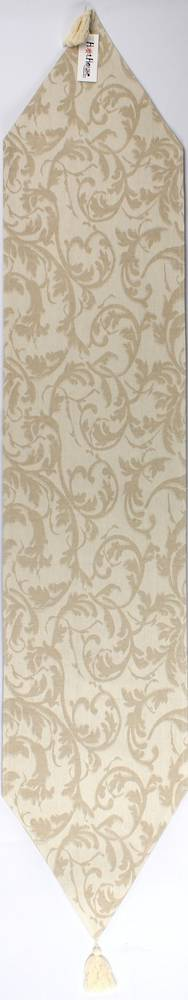 Jacquard table runner with tassels scroll (33 x 170 cm) cream Code: TR-SCR170/CRM