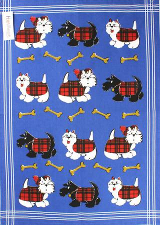 Tea Towel Scottie Dog Code:T/T-SD CLEARANCE $2.00EA